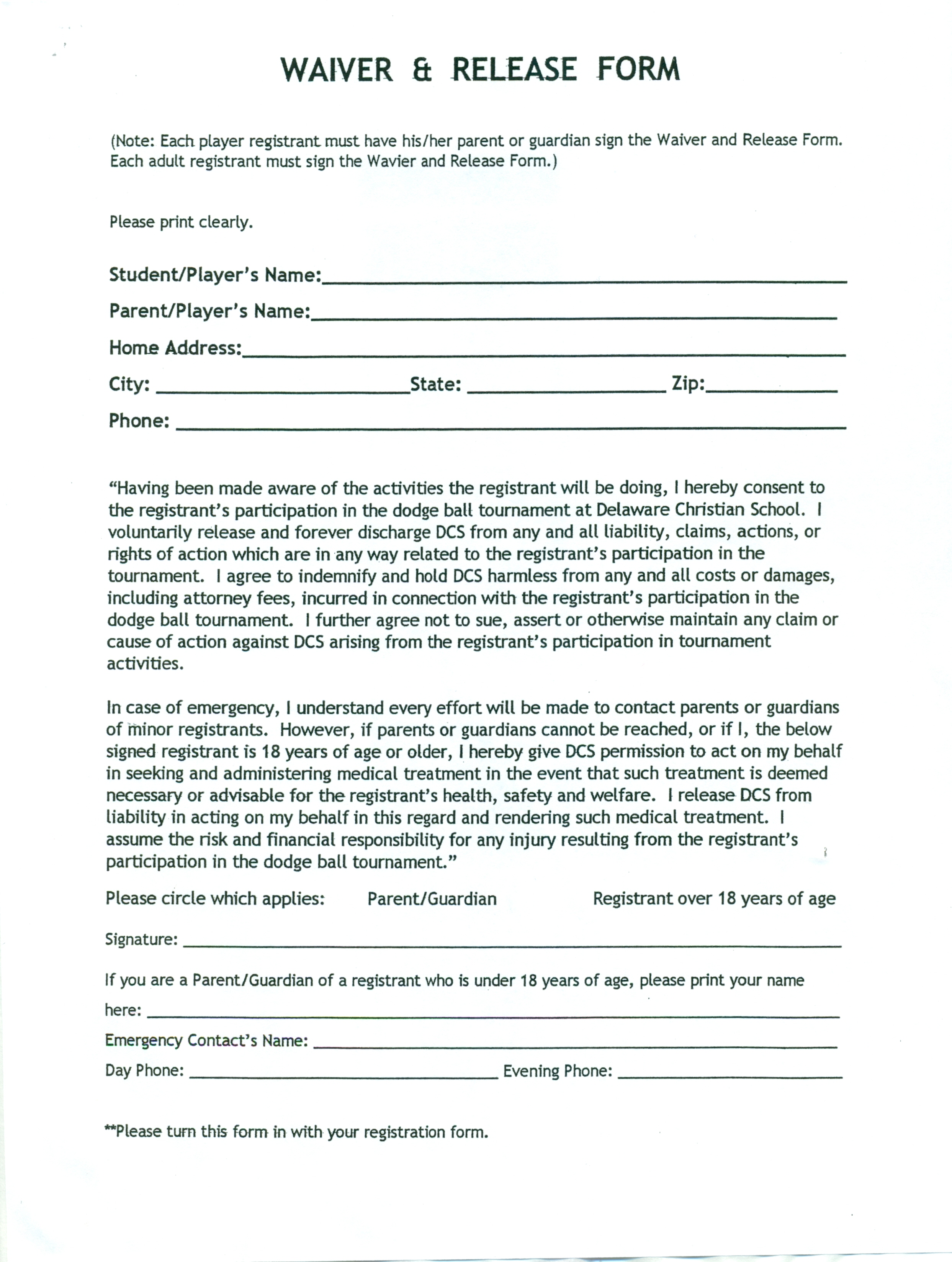 Release waiver template free printable documents for Release from liability form template